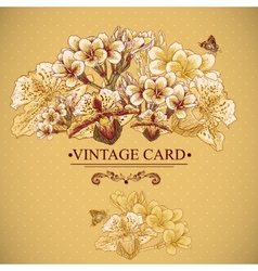 Vintage Floral Card with Exotic Flowers vector image