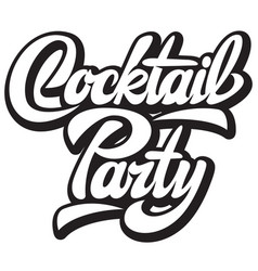 with calligraphy lettering cocktail vector image
