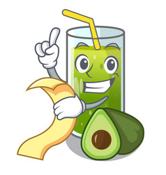 With menu avocado smoothies are isolated on vector