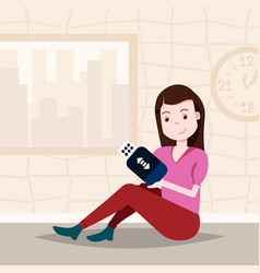 woman holding usb drive sitting character template vector image
