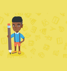 african kid boy standing with a huge pencil vector image vector image