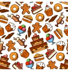 Cakes coffee and ice cream seamless pattern vector image