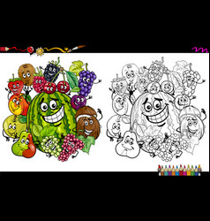 fruit characters coloring page vector image