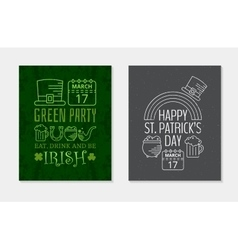 Two Happy St Patricks day grunge vintage posters vector image vector image
