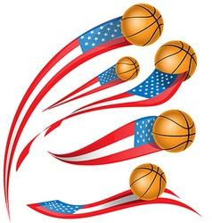 basket ball with USA flag vector image vector image