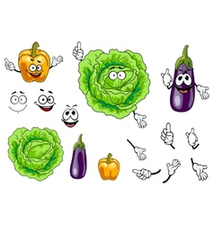 Cabbage pepper and eggplant vegetables vector image vector image