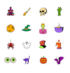 halloween set icons set cartoon vector image