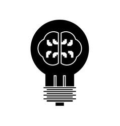 lamp with brain idea icon vector image