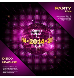 pink disco ball 2014 party background vector image vector image