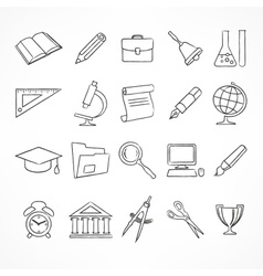 Set of school icons on white vector image vector image