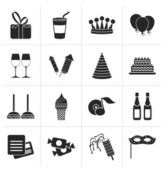 Black birthday and party icons vector image