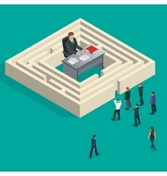 Bureaucrat in the maze people stand in a queue vector