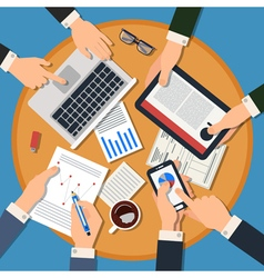 Business Meeting Concept Top View of Desk vector image vector image