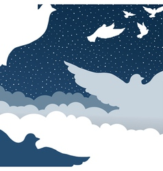 doves in cloud sky vector image vector image