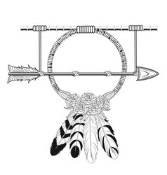 dream catcher arrow rustic tribal style vector image