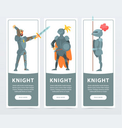 flat set of vertical banners with medieval vector image
