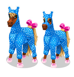 Funny horse in the blue jumpsuit vetor isolated vector