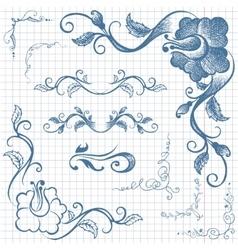 Ink hand-drawn line border set vector image vector image