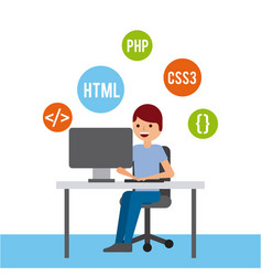 man programmer working on his pc computer coding vector image