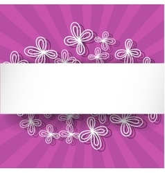 Violet rays background with abstract white flowers vector image