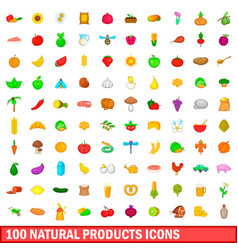 100 natural product icons set cartoon style vector image
