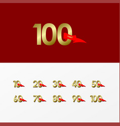100 years anniversary celebration gold with red vector