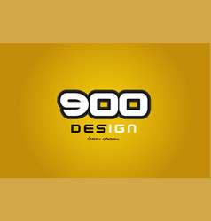900 number numeral digit white on yellow vector