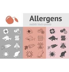 Allergen set Fish cat insect honey bee apple vector image
