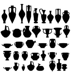 antique ceramics silhouettes vector image