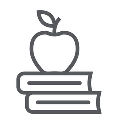 apple on the books line icon school and education vector image
