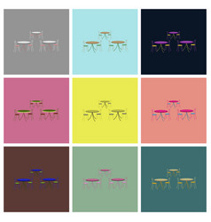 Assembly flat icons tables and chairs vector