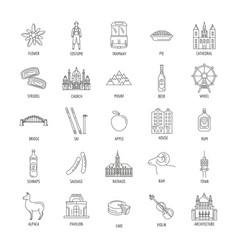 Austria icons set line style vector