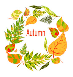 Autumnal round frame hand drawn autumn leaves vector