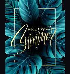 banners with tropical leaves on black vector image