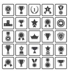 Black avards icons set vector image