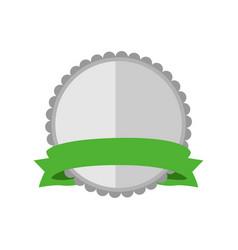 blank silver circular premium vintage badge vector image