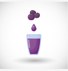 blueberry juice flat icon vector image