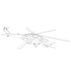 Blueprint of helicopter wireframe concept vector