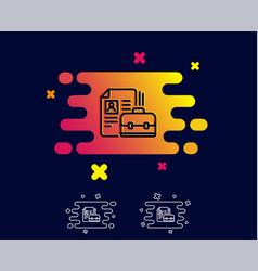 Business case with cv line icon portfolio sign vector