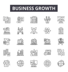 business growth line icons signs set vector image