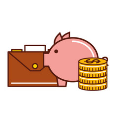business money coins piggy briefcase vector image