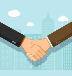 business partners meeting and shaking hands vector image