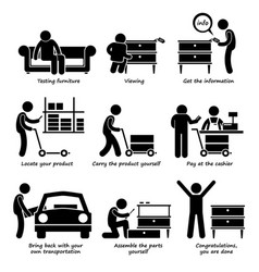 Buy furniture from self service store step vector
