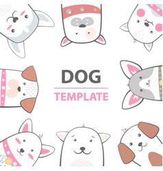 cartoon dog characters animals template vector image