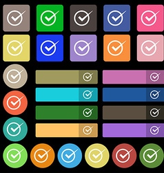 Check mark sign icon Checkbox button Set from vector image