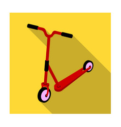 Children red scooter transport for children walks vector