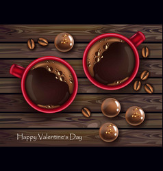 Chocolates and red coffee cup realistic vector