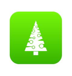 Christmas tree icon digital green vector