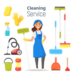 Cleaning service woman character vector