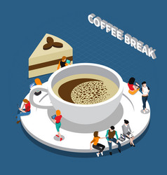 Coffee break isometric composition vector